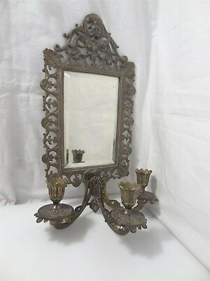 Vintage Brass Sconce Wall Hanging Candle Holder w/ Beveled Mirror