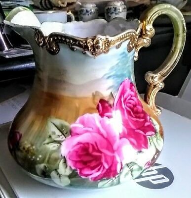 Antique Nippon Hand Painted Pitcher Gold Gilt Roses Maple Leaf Mark