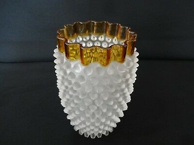 Antique 1880's Hobbs Brockunier & Co, Frances Ware, Hobnail Vase Amber Rim