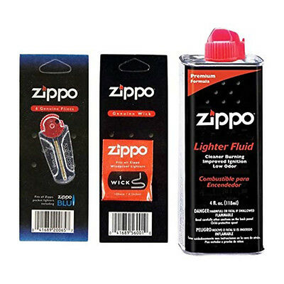 Zippo Lighter Replacement Flint Wicks and Fuel Fluid Set - Authorized Dealer