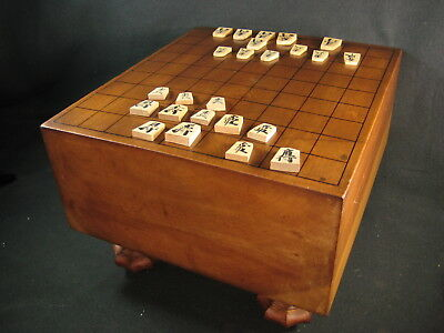 Antique Japanese Signed Kaya Wood Shogi Board Shogiban Carved Wooden Legs
