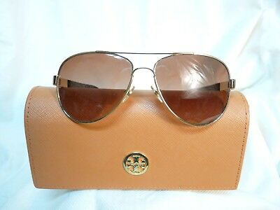 a2b3da1881 Tory Burch Polarized Gold Metal Aviator 8010 Sunglasses with brown lenses  Case