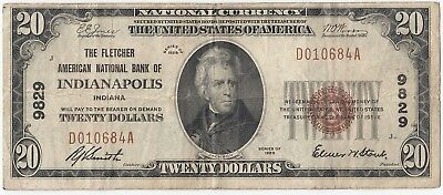 1929 National Currency $20 Fletcher American NB Indianapolis IN Ch#9829 A4153