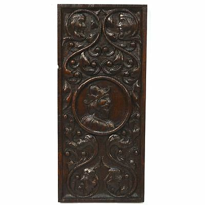 Antique 17th C. English Carved Oak Renaissance Salvaged Wall Panel of Nobleman