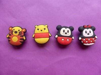 4 Mickey Winnie the Pooh jibbitz croc shoe charms wrist loom band cake toppers