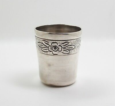 Vintage Maciel Mexican Sterling Silver Floral Engraved Cordial Cup Shot Glass