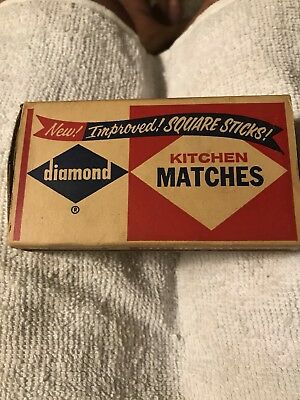 Vintage DIAMOND KITCHEN Collectible Stick Wooden Matches Paper Box