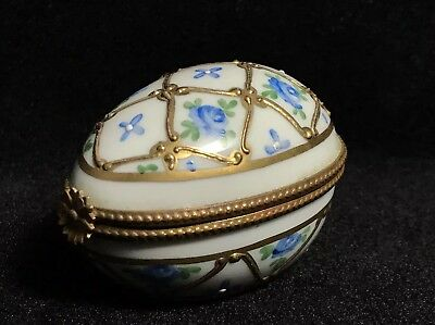 Vtg Antique Limoges France Gold Gilt Hand Painted Egg Trinket Dish Box