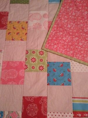 Handmade cotton baby cot quilt