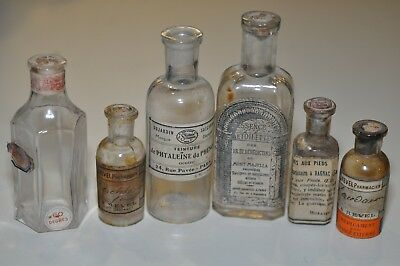 Lot of Antique French Medicine Bottle Bottles w/ Original Labels from France