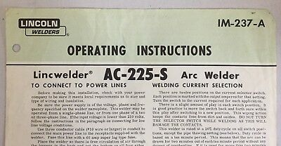 1967 Lincwelder Arc Welder Operating Instruction AC-225-S Lincoln Electric 3635F