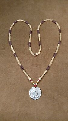 1737 Silver Shilling. King Geo II, & Wampum Style Necklace, Longhunter, Colonial