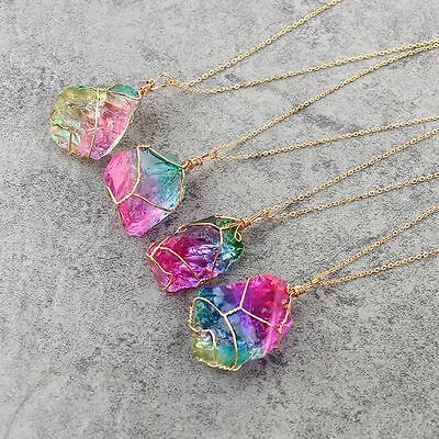 Rock Quartz Jewelry Natural Crystal Irregular Rainbow Stone Pendant Necklace