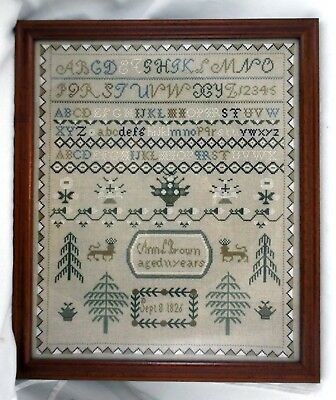 Outstanding Antique New Hampshire Sampler By Ann L Brown Age 11 Dated 1826