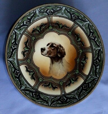Beautiful 9 Inch Nippon Hunting Dog Plaque With Heavy Enameling Maple Leaf Mark