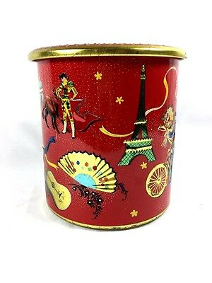 Holland Tin Container Culture Art Image Bright Red Gold Trim Cylinder Vintage