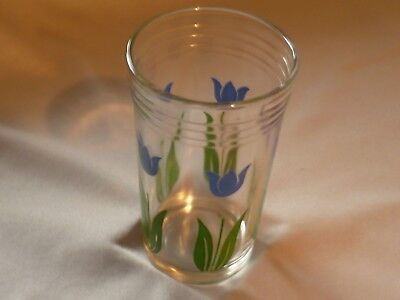 Vintage Swanky Swig Glass Blue Tulips 1950's Cheese Spread Jar/Container