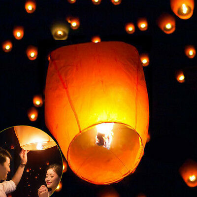 50PCS Paper Chinese Lanterns Sky Fly Candle Lamp for Wish Wedding US STOCK