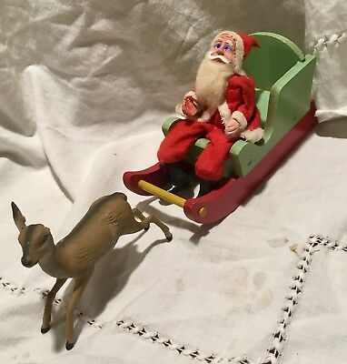 Vintage Antique Christmas Paper Mache Felt Santa w Wood Sleigh & Reindeer Figure