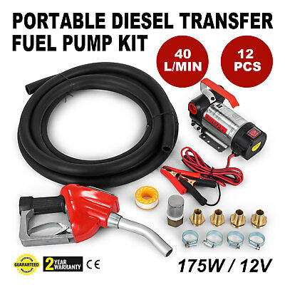 Digital Flow Meter 12V Diesel Transfer Fuel Pump Kit Portable 175 W Wall Mounted