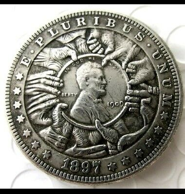 Rare Hobo Nickel 1897 Morgan Lincoln With Hand Grabbing Center Penny Casted Coin