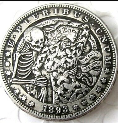 Rare Hobo Nickel 1893 Skull Skeleton Dancing with Butterfly Woman Casted Coin