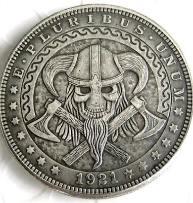Rare Hobo Nickel 1921 Skull Viking Morgan Dollar Crossed Axes Skelet Casted Coin