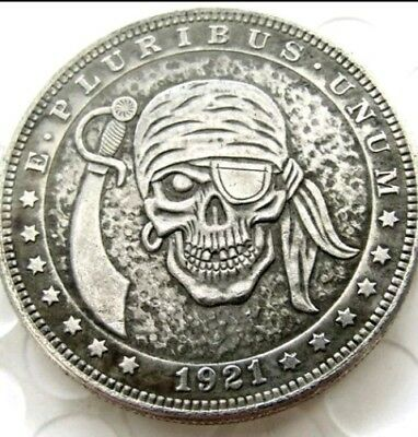 New Hobo Nickel 1921 Pirate Morgan Dollar Skull Skeleton with Sword Casted Coin