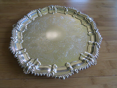 """Charles Howard Collins Silver Plate Round 10"""" Tray - Lion Mark"""