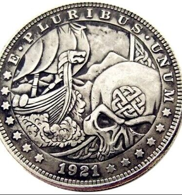 Rare Hobo Nickel 1921 Viking Morgan Dollar Skull Boat on Ocean Casted Coin