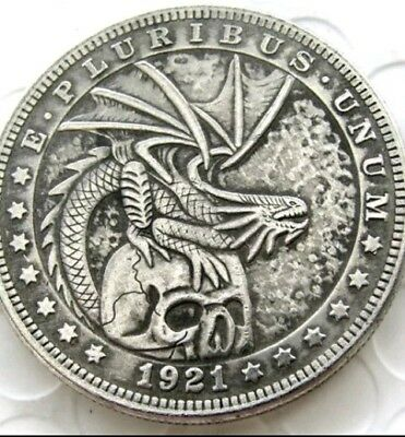 New Hobo Nickel 1921 Skull Morgan Dollar Dragon on top of Skull Casted Coin