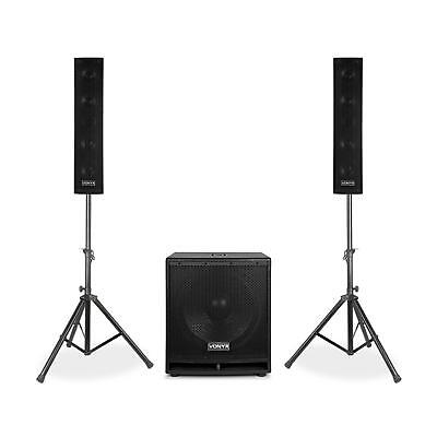 """Kit enceintes actives Pack sono 2.1 subwoofer 15"""" USB SD Bluetooth 1000W + micro"""