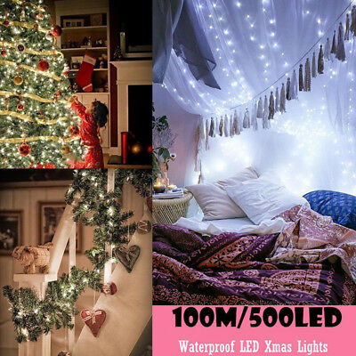 100M 500 LED White Fairy String Lights Christmas Outdoor Party Wedding Garden