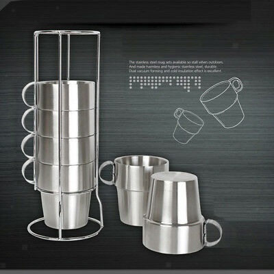 6 Pcs 300ml Stainless Steel Travel Mug Double Wall Insulation Coffee Tea Cup