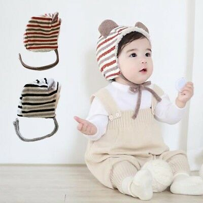 Toddler Baby Ear Warmer Fleecy Hat Striped Cute Ears Designed  Lace-up Caps