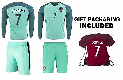reputable site a1c96 2cc71 RONALDO JERSEY #7 Portugal LONG Sleeve Youth Soccer Jersey & Kids Shorts  +...