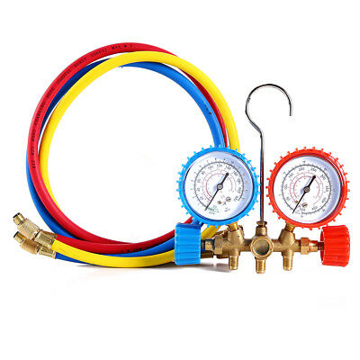 R12 R22 R134a R502 Manifold Gauge Set HVAC A/C Refrigeration Charging Hose 2.8Ft