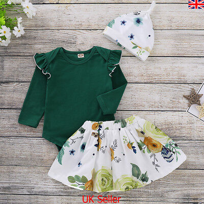 Newborn Kids Baby Girl Floral Clothes Jumpsuit Romper Skirt Dress Hat Outfit Set