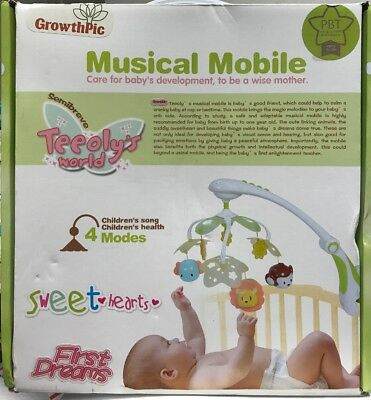 GrowthPic Musical Baby Crib Mobile with Star Projector Nursery Function,