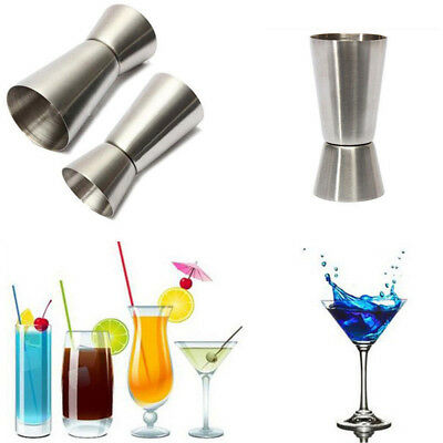 Double Shot Stainless Steel Measuring Cup Cocktail Drink Mixer Jigger Bar Access
