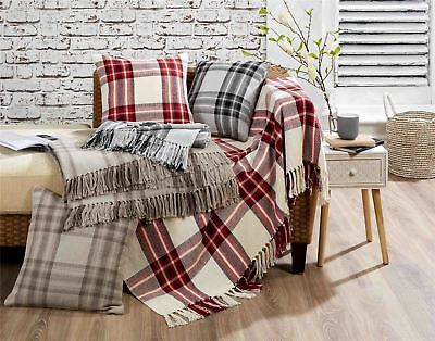Tartan Check 100% Cotton Scatter Cushion Cover Or Tasselled Throws Sofa Bed