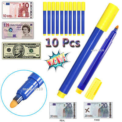 10Pcs Counterfeit Forged Fake Detect Marker Bank Checker Money Quick Tester Pens