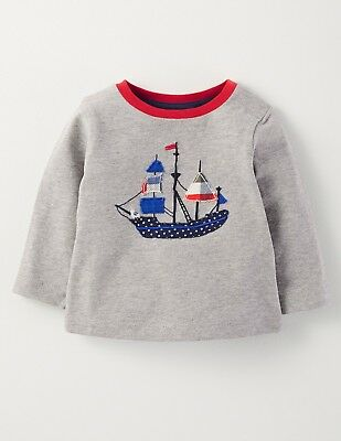 Baby Boys New Ex Mini Boden Long Sleeve Applique/Print T-Shirt Top 0-3m to 3-4y