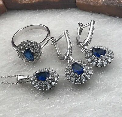 925 Sterling Silver AAA Quality Jewelry Sapphire Ladie's Full Set
