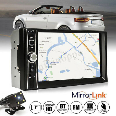 "Bluetooth Car Stereo Radio 2 DIN 7"" HD MP5 FM Player Touch Screen + Rear Camera"