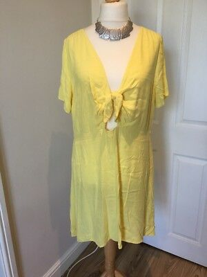 Beautiful New Look Ladies Dress Size 18 Yellow Tie Front BNWT Summer Holiday