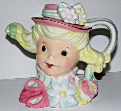 "Vtg 6"" Ceramic Blond Lady Girl Head Teapot Pitcher Pink Hat Pigtails"