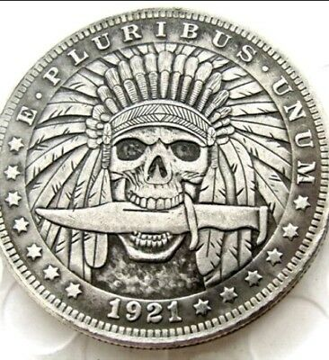 New Hobo Nickel 1921 Skull Indian Brave with Knife in Mouth Skeleton Casted Coin