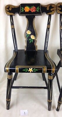 1 VINTAGE HITCHCOCK Style CHAIR STENCILED WOOD PLANK SEAT BLACK dining