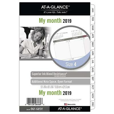 """2019 Monthly Planner Refill, 5-1/2"""" x 8-1/2"""", Desk Size 4, Loose Leaf Harmony"""